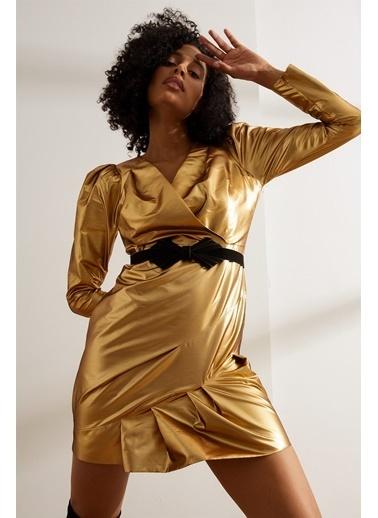 Setre Gold Kemerli Karpuz Kol Mini Parlak Elbise Sarı